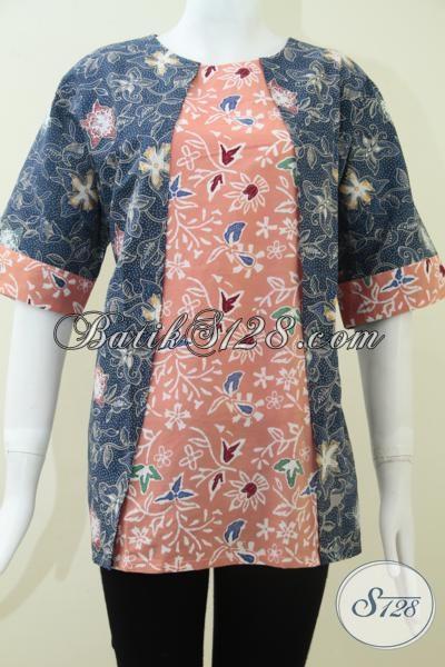 Baju Batik Paduan Warna Biru Donker Dan Pink Bls1161c Xl