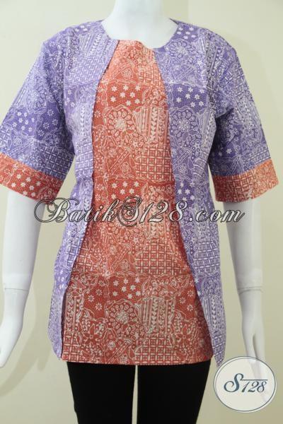Baju Batik Kombinasi Warna Ungu Dan Orange Keren Sekali, Blus Batik Modern Trendy Dan Modis, Size XL