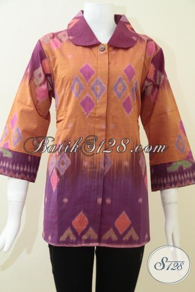 Pakaian Kerja Tenun Ikat Jepara Untuk Wanita Aktif Kreatif, Baju Tenun Mewah Mahal Berkelas, Size XL