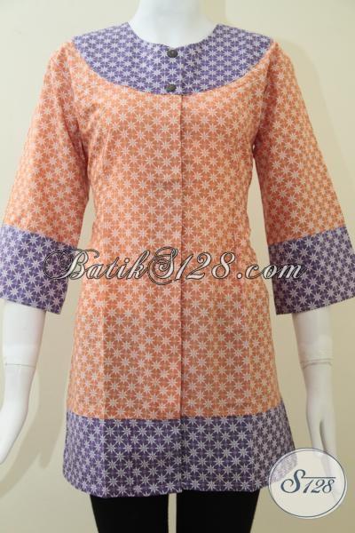 Butik Batik Pakaian Wanita Modern Masa Kini, Jual Blus Batik Tren 2014 Dengan Kombinasi Dua Warna Keren Dan Fashionable, Size S