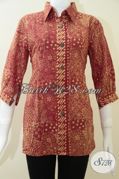 Pakaian Batik Kerja Perempuan Aktif Model Lengan Tiga Perempat, Busana Batik Cantik Sempurnakan Penampilan Wanita Karir, Size M