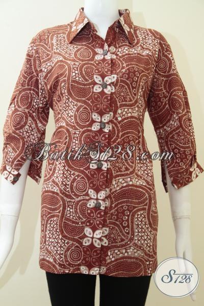 Toko Batik Online Terkenal, Jual Baju Batik Wanita Masa Kini, Blus Batik Pakaian Kerja Yang Trendy Modis Elegan, Size L