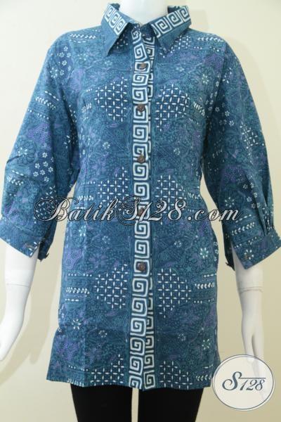 Pakaian Batik Resmi Untuk Wanita Model Terbaru, Blus Batik Motif Kawung Warna Biru Trendy Dan Elegan, Size Jumbo XXL Untuk Perempuan Gemuk