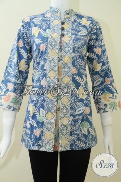 Blus Batik Kerja Wanita Karir Model Pias Depan, Baju Batik Resmi Model Trendy Harga Terjangkau, Size S