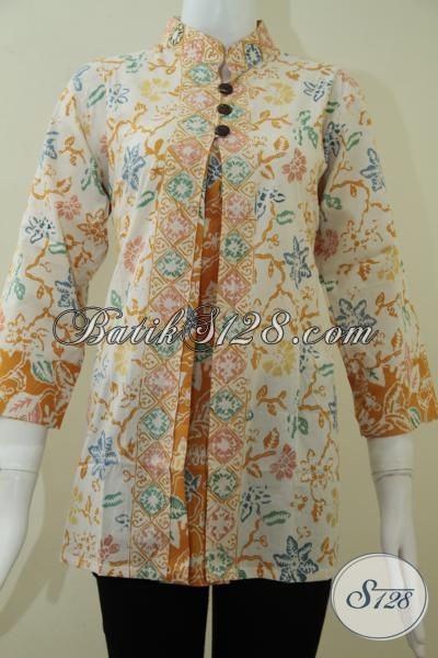 Busana Kerja Batik Wanita Warna Bledak Kekuningan 391e9933e5