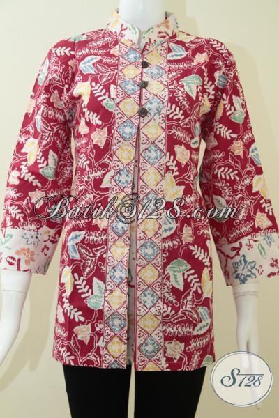 Blus Wanita Batik Warna Merah Elegan,Trend Batik Wanita Model Terkini Dan Terbaru 2014 [BLS1206C-L]