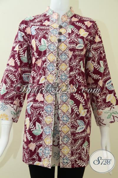 Pakaian Batik Wanita Modern Model Terbaru, Blus Batik Kerja Warna Merah Cerah Mewah Dan Berkelas, Size XL