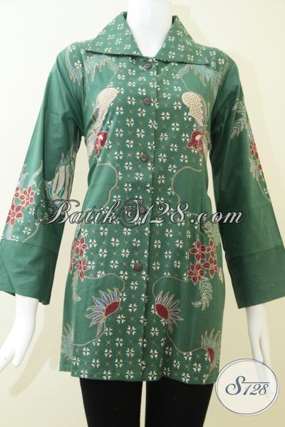 Baju Batik Wanita Batik Tulis Solo Warna Hijau Bls1216t L