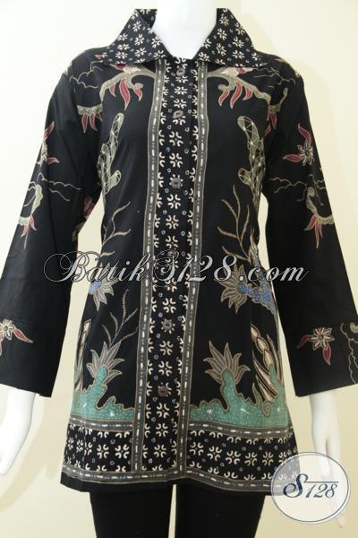 Model Batik Tulis Wanita Elegan,Batik Tulis Warna Dasar Hitam Manis [BLS1222T-XL]