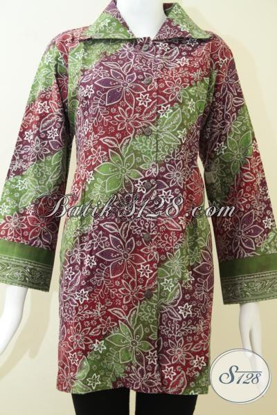 Batik Wanita Motif Dan Warna Gradasi Cantik,Blus Kerja BAtik Wanita Ukuran Jumbo [BLS1228CT-XXL]