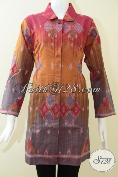 Busana Tenun Perempuan Dewasa Masa Kini, Baju Batik Tenun Ikat Tampil Mewah Bak Istri Pejabat, Size M