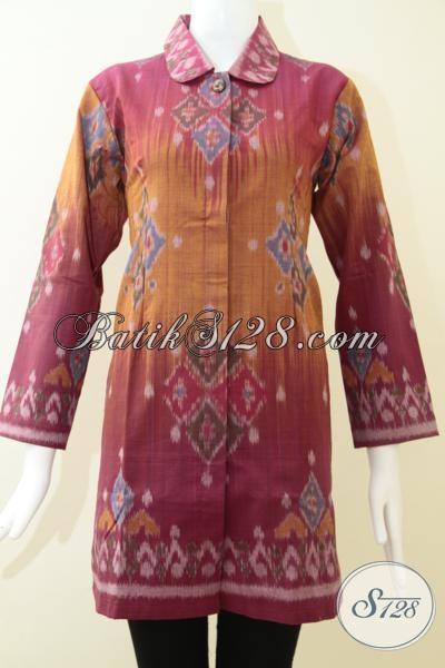 Baju Batik Tenun Ikat Buatan Jepara Asli, Busana Blus Kerja Bahan Tenun Mewah Berkelas, Size M