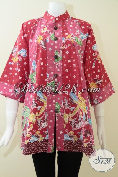 Blus Batik Warna Cerah, Atasan Kerja Kantoran [BLS1251P-XL]