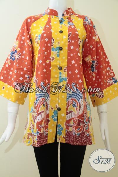Butik Batik Solo Online Terpercaya, Sedia Baju Atasan Batik Motif Masa Kini Dengan Kombinasi Warna Cerah Kuning Oranye Menambah Kesan Feminim Dan Trendy, Size M