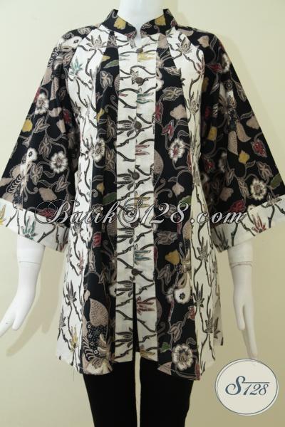 Busana Atasan Batik Tren Wanita Masa Kini, Blus Batik Kombinasi Warna Model Fatin Bagus Dan Cocok Untuk Para Sosialita, Tersedia Size Jumbo XXL