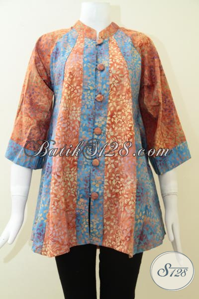 Baju Blus Batik Fatin Kombinasi Warna Biru Orange Keren