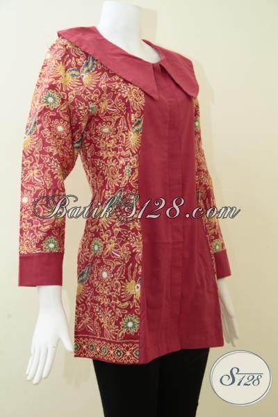 Blus Batik Warna Merah Bagus Cocok Untuk Karyawati Swasta Dan BUMN, Pakaian Batik Solo Trendy Modern Serta Fashionable, Size L