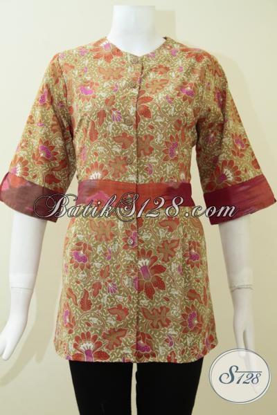 Baju Batik Kerja Wanita Ukuran Kecil, Blus Batik Mewah Keren WarnaTrendy Motif Unik  Terlihat Anggun, Size S