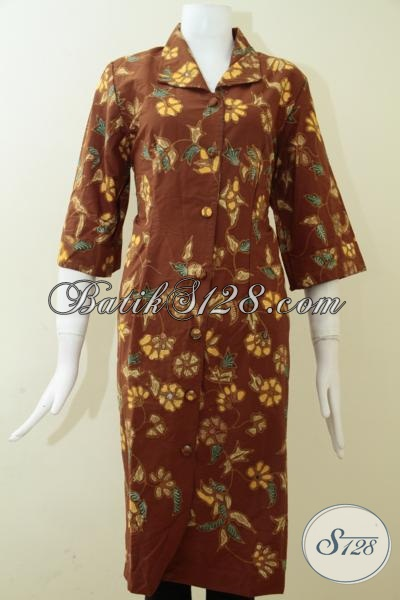 Jual Dress Batik Tulis Elegan Warna Coklat Untuk Wanita Tinggi Semampai [BLS1283T-S]