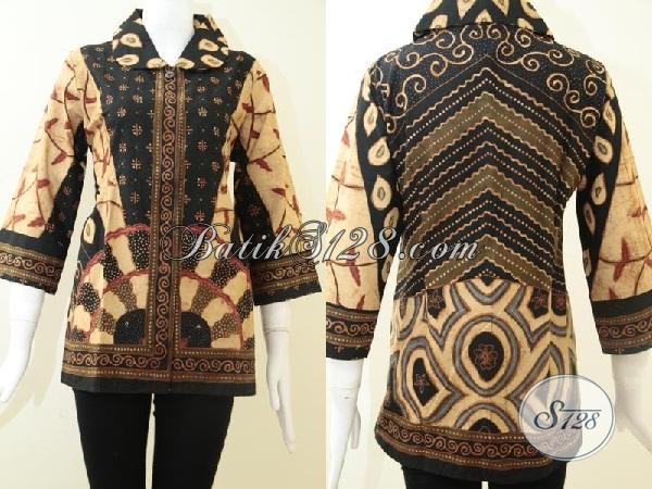 Busana Batik Tulis Solo Mewah Berkelas, Blus Batik Resmi Klasik Modern Pakaian Khas Ibu-Ibu Pejabat, Size L