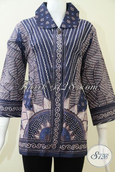 Blus Batik Tulis Premium Mewah Banget, Pakaian Batik Warna Biru Elegan Dan Modern, Cocok Untuk Wanita Kantoran, Size XL