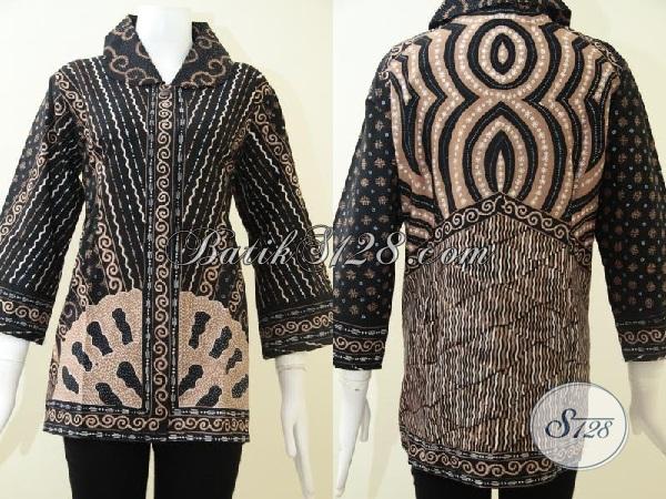 Blus Batik Tulis Khas Solo Mewah Bagus, Busana Batik Resmi Motif Modern Klasik , Cocok Untuk Wanita Karir, Size XL