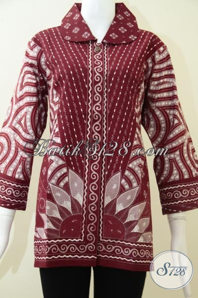 Trend Baju Wanita Batik Tulis Motif Sinaran Warna Merah [BLS1289T-XL]