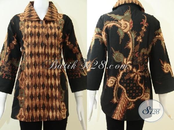 Trend Batik Solo Soga Genes,Blus Batik Tulis Soga Jawa Asli [BLS1291T-XL]