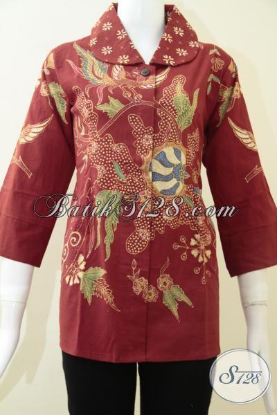 Batik Tulis Wanita Warna Merah Cerah [BLS1296T-M]