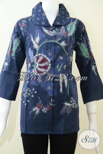 Baju Batik Tulis Warna Biru Trendy Berkelas, Blus Batik Modern Lengan Tujuh Perdelapan, Cocok Untuk Acara Resmi, Size M