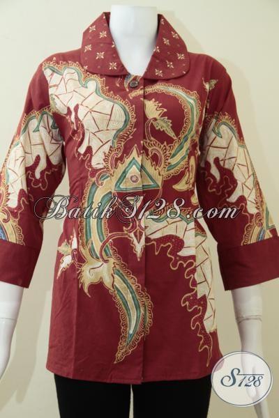 Butik Pakaian Batik Online, Sedia Blus Batik Modern Tren Terbaru 2014, Baju Batik Resmi Kerja Motif Abstrak Fashionable, Size L