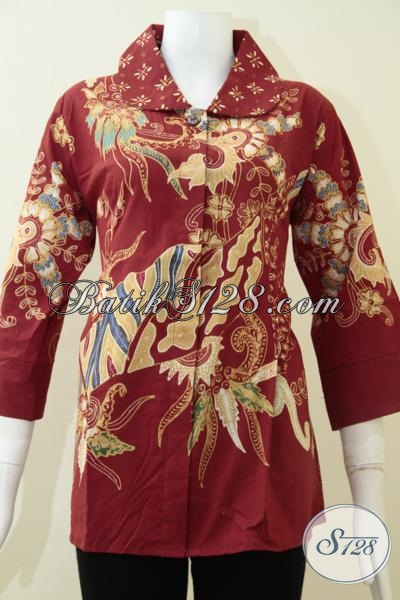 Pakaian Batik Tulis Jawa Solo Indonesia Motif Abstrak Modern Dan Keren, Blus Batik Kerja Wanita Karir Tampil Lebih Anggun, Size L