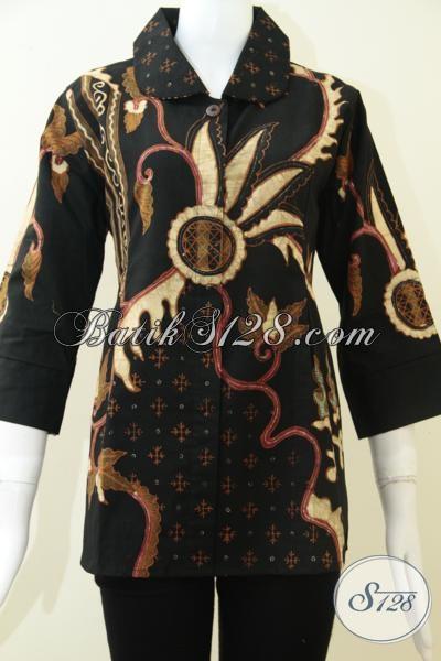 Blus Batik Tulis Premium Dasar Hitam Elegan, Pakaian Batik Resmi Motif Klasik Mewah Dan Feminim, Size L