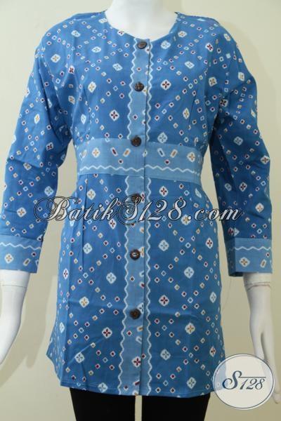 Baju Batik Wanita Warna Biru Elegan Trend Motif Batik Corak Jumputan