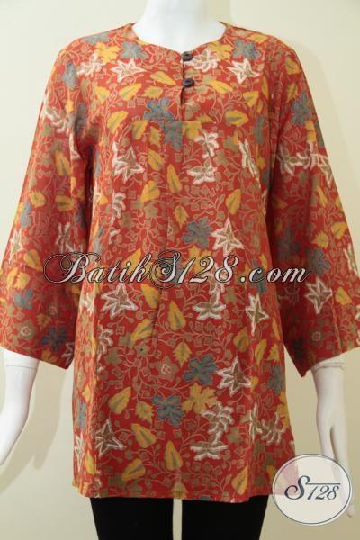 Baju Batik Wanita Kerja Harga Terjangkau, Blus Batik Keren Trendy Motif Dedaunan Bahan Lembut Dan Adem, Size XL
