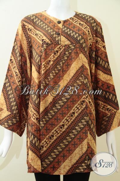 Pakaian Batik Klasik Modern Wanita Karir Dewasa, Busana Batik Istimewa Untuk Perempuan Gemuk Size XXL