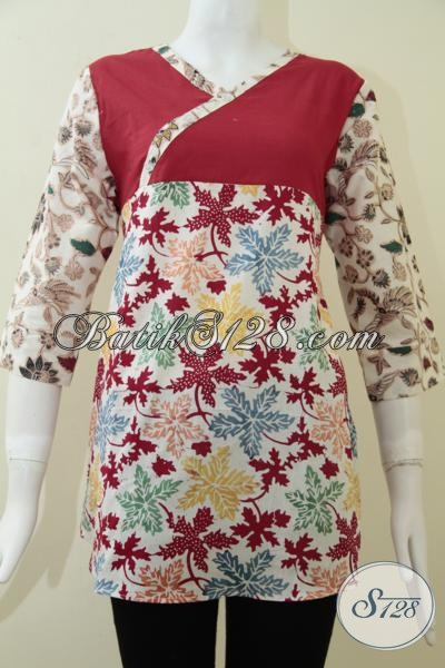 Blus Batik Keren Trendy Fashionable, Baju Batik Solo Untuk Remaja Putri Masa Kini, Size M