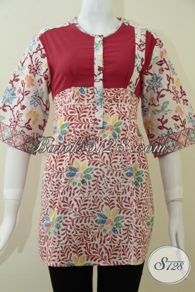 Busana Batik Santai Untuk Pesta Dan Hangout, Blus Batik Motif Keren Warna Cerah Kesukaan Wanita Muda Dan Remaja Putri, Size M