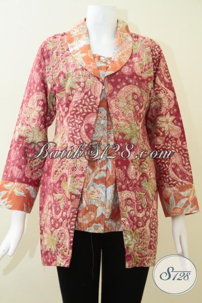 Blus Batik Trendy Desain Terkini, Pakaian Batik Resmi Motif Klasik Modern Model Lengan Tujuh Perdelapan, Cocok  Untuk Baju Kerja, Size L