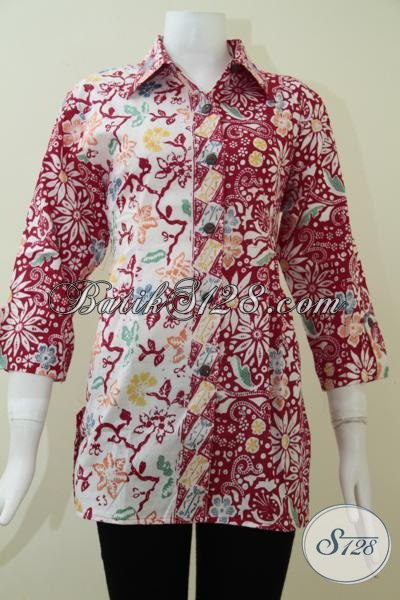 Produk Terbaru Blus Batik Warna Merah Motif Klasik Modern Modis Dan Keren, Baju Batik Perempuan Muda Seksi Dan Cerdas, Size L