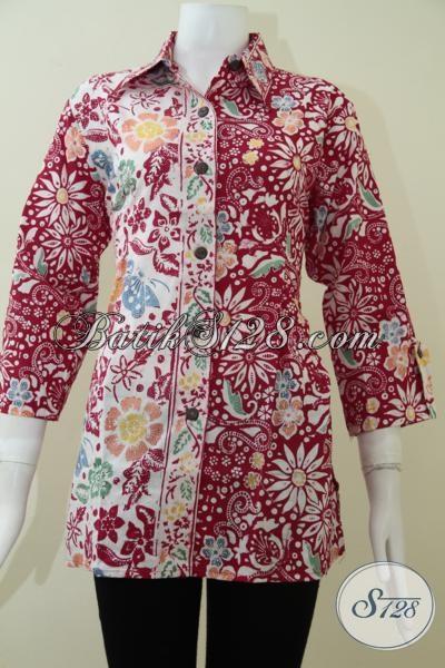 Baju Batik Kerja Elegan Wanita Karir Sukses, Blus Batik Model Kerah Mewah Berkelas, Size L