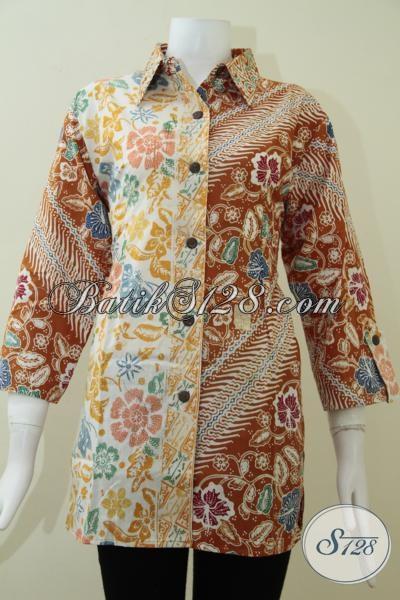 Blus Batik Wanita Paduan Motif Bunga,Parang Dan Kupu [BLS1352C-XL]