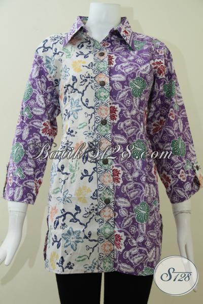 Pakaian Batik Model Blus Untuk Perempuan Kantoran, Busana Batik Motif Mewah Elegan Harga Terjangkau, Size XL