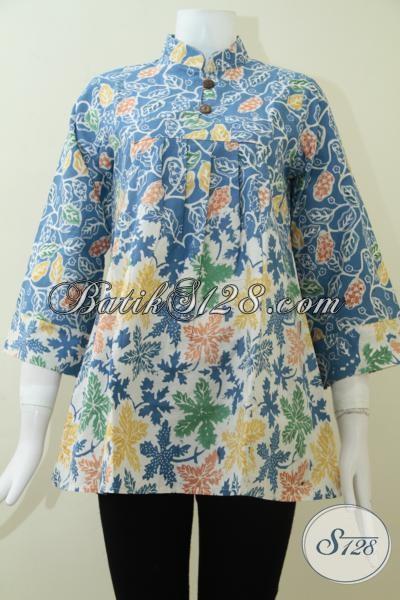 Baju BAtik Santai Trend Warna Biru 2014 [BLS1360C-S] - Toko Batik