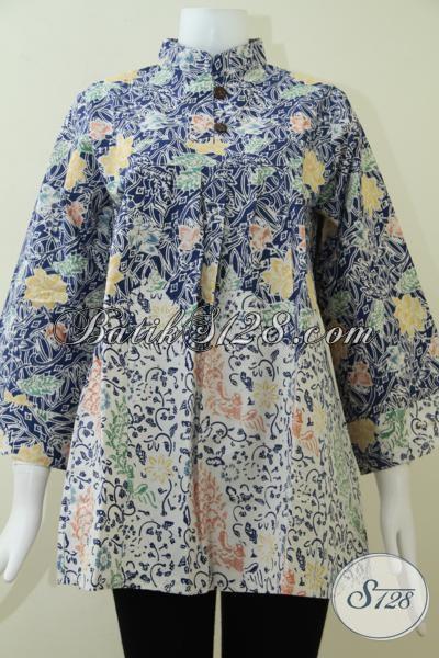Warna Biru Untuk Trend Batik Tahun 2014,Motif BAtik Cantik Untuk Blus Kerja Wanita [BLS1369C-L]