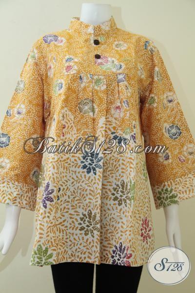 Blus BAtik Wanita Warna Kuning Cocok Untuk Wanita Modern [BLS1371C-XL]