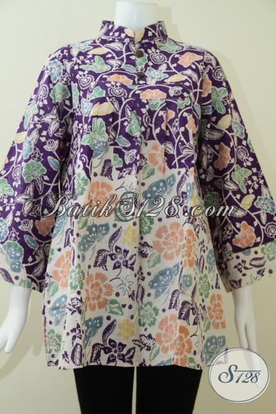 Baju Batik Wanita Muda Dan Dewasa Desain Terbaru, Baju Batik Model Blus Perempuan Tampil Cantik Dan Trendy, Size XL