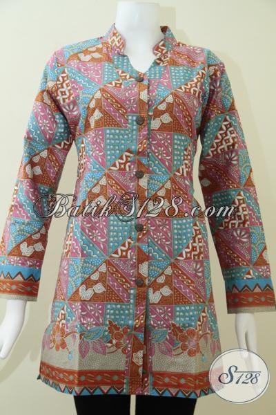 Baju Batik Resmi Untuk Wanita Buatan Solo Jawa Tengah, Blus batik Kerja Model Lengan Panjang Dengan Motif Keren Untuk Tampil Cantik Dan Trendy, Size M – XXL