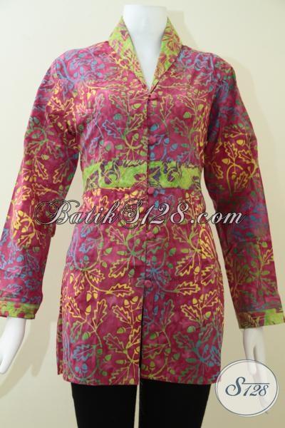 Busana Batik Kerja Wanita Karir Yang Luar Biasa, Blus Batik Modern Trendy Dan Mewah, Size M