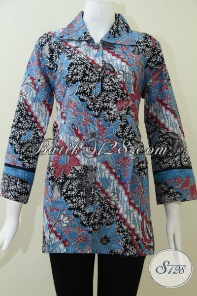 Baju Blus Batik Motif Klasik Modern Harga Di Bawah 100 Ribu, Busana Batik Resmi Wanita Karir Aktif, Size L